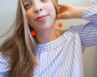 Orange Mini Fiesta Pom Pom Earrings- Small Dangle