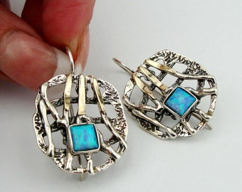 Beautiful Hand Crafted 9K Yellow Gold Silver Opal Earrings (s e1728