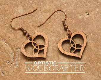 Wooden Celtic Heart Earrings (Cherry)