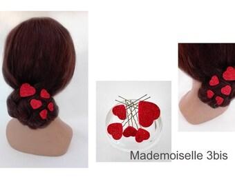 heart hair pins bridal bun, red, quilted Hat woman ceremony, wedding hair, hair clip