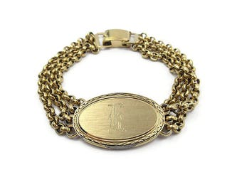 Speidel Gold Plated Monogrammed ID Bracelet - Letter K Monogram, Old English, Vintage Bracelet, Vintage Jewelry