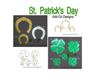 ITH St Patricks SHAMROCK HORSESHOE Add-On for Twirligig Spinning Mobile Machine Embroidery Applique In-The-Hoop Design