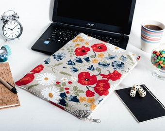 MacBook Pro sleeve, Linen poppies New MacBook case,  MacBook case, MacBook 12 sleeve, MacBook 11 case, MacBook 15 cover, iPad sleeve, iPad