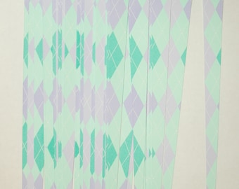 Pre Cut Paper Bead Strips, Craft Supplies Green Purple Argyle