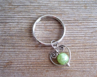 Heart Keychain, Filigree Silver Heart Key Chain, Sweetheart Keychain, Light Green Pearl Bead, Pearl Heart Key Ring