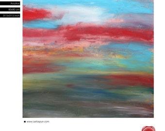 "Modern Landscape, FRee Shipping, Acrylic, 31.5""x 31.5"" inches (80x80cm), Original Painting, Carlos Pun Art"