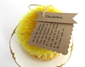 Kitchen Scrubby TRIO~Dandelion~Reuseable Scrubbie~Pot Scrubby~Green Living~handmade scrubby~Kitchen Cloth~Scrubby Pad