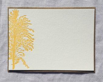 Golden Sorghum Letterpress Notecards, Set of 8