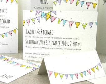 Vintage Bunting Wedding Invitation - SAMPLE ONLY