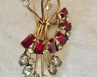 Vintage 1940 signed Van Dell 12K Gold-filled red clear rhinestone  pin brooch and pendant.