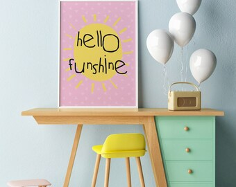 Printable Nursery Decor Art Print African Print Instant Download Wall Art pink Hello Funshine Typography Posters  prints kids wall shelf