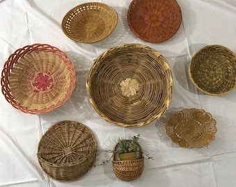 Beautiful Collection of Woven Wall Basket Set- Boho Decor- Wall hanging. Free Shipping