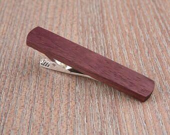 Purpleheart Wood Tie Clip. Slim 10.5 mm ties clip. Groomsmen Tie Clips. Monogrammed Tie Bar. Exotic Wood Tie Clip. Engraved Custom Tie Clip.