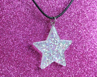 Clear Glitter Iridescent Holographic Star Necklace / Kawaii Cute Space Fairy Kei Resin Pendant Black Waxed Cord