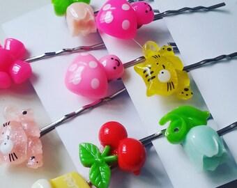 Lucky dip, hair grips, kawaii, childrens, girls hair, cherry, apple, teddy, tulip, kitty, mix colour, by NewellsJewels on etsy