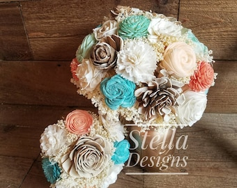 Ready to Ship Set Mint Coral Aqua Turquoise Ivory Cream Sola Bouquet Wood Flowers Dried flowers