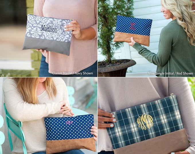 Monogrammed Cosmetic Bag, Monogrammed Gifts, Monogrammed Bridesmaid Gifts, Makeup Bag, Toiletry Bag, Ella, Middleton Plaid, Charli Dot