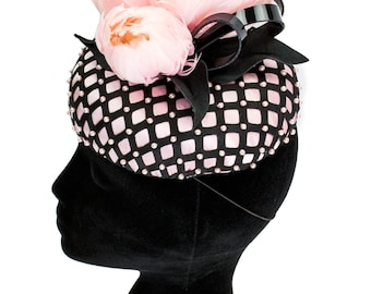 Patent, Pearls and Peony Oval Button Fascinator - Millinery by Amy Fowler