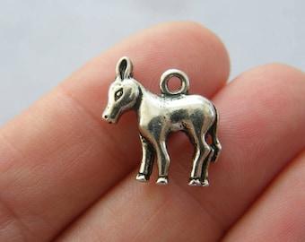 BULK 30 Donkey charms antique silver tone A684