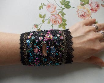 Sparkles cuff bracelet...hand beaded collage wrist cuff, manually stitched bohemian cuff bracelet in golden, black, blue, pink....
