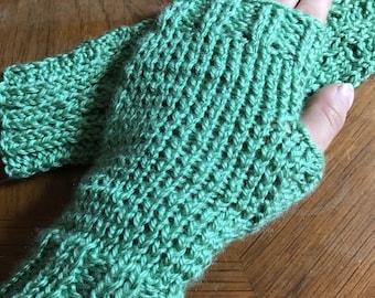 Hand knit mint green wrister fingerless gloves