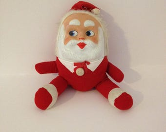 Vintage Antique Large Stuffed Rubber Face Santa Clause Toy Plush Doll Kitschy Mid Century Retro Xmas Holiday St. Nick Decor Decoration