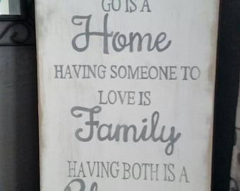 Having a place to go is home having someone to love is family having both is a blessing sign ,wall decor
