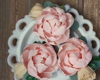 Blush pink corsage, champagne wrist corsage, sola wood flower, ecoflower, wooden flower wrist corsage, prom flower, keepsake wedding flowers