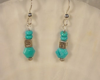 Sterling Silver Earrings with Chalk Turquoise