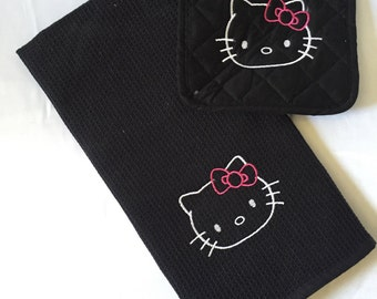 Hello Kitty Kitchen Towel and Pot Holder