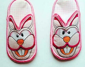 Bunny Bedroom slippers, Children's Slippers, Bedroom slippers,Kids Slippers.Made to Order