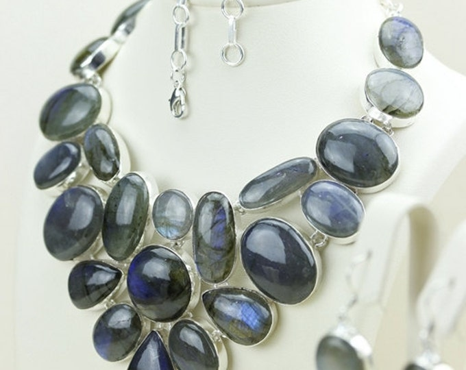 Truly North AMERICAN! AAA Graded Oval Shaped Canadian LABRADORITE 925 Solid Sterling Silver Necklace N469