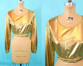 "1980s crop top   gold lame long sleeve crop top   vintage 80s top   W 26""+"