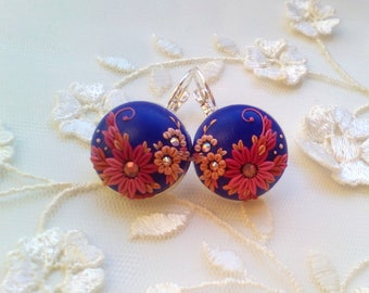 Purple song Embroidered earrings,  Unique Polymer Clay Earrings, Floral Filigree Earrings, Unique Gift