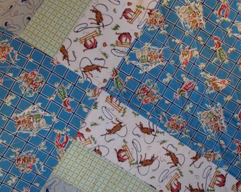 Old West Cowboy Handmade Quilt - Large Lap Quilt