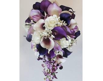 Wedding bouquet cranberry calla lily bouquet cranberry bouquet cascading wedding calla lily bouquet purple bouquet bridal bouquet real touch purple calla lily bridal bouquet junglespirit Image collections
