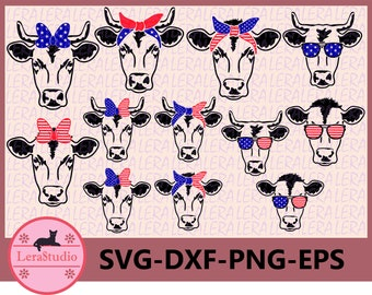 60 % OFF, Cow SVG, 4th Of July Svg, American Flag Cow svg, Patriotic Cow Svg, Cow face  SVG, dxf, ai, eps, png, Silhouette, Independence Day