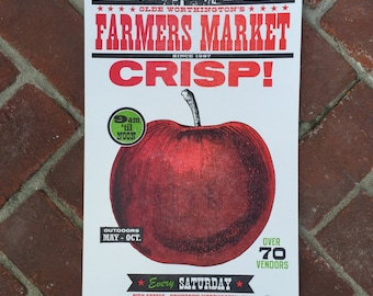 "Farmer's Market ""CRISP"" Apple Letterpress Poster"