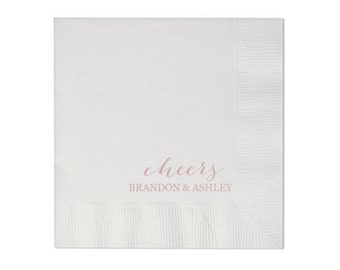 Cheers - Rose Gold/Blush Personalized Wedding Napkins