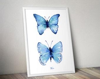Butterfly Wall Art, Blue Butterflies Watercolor Art Print Two Butterflies Print Blue Butterfly Painting Butterfly Abstract Butterflies