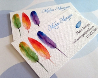 Feather Business Cards, Custom Business Cards - Set of 50
