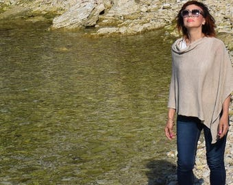 Linen Knit Poncho .Plus size beach wrap .Summer Linen Cape . Summer Linen Wrap - Linen Sweater, Plus Size Linen Wrap .Linen Knitwear