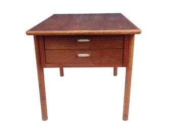 Danish Modern 2 Drawer Wood Side Table