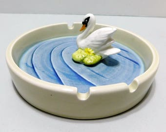 Otagiri Japan 1980 Hand Painted Ashtray Swan Vintage Ceramic Beige Blue