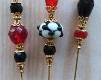 3 Diff Hatpins Beautiful Beads 6 inches long. .We sell hat stick  pin blanks,make your own,findings, supplies...S50
