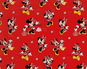 Disney's Minnie Mouse Loves Dresses on Red from Springs Creative - 100% Cotton