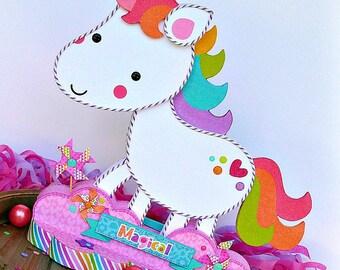 Unicorn Centerpiece, Unicorn Decor, Paper Crafted Centerpiece, Unicorn Party