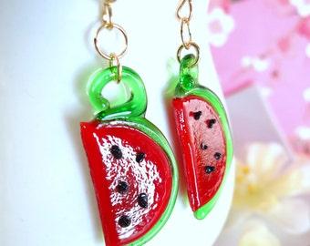 Glass watermelon dangle gold filled earrings, cut watermelon glass dangle gold earrings, summer red watermelon glass earrings