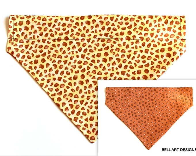 DOG BANDANA ~ Giraffe Pattern ~ Over the Collar ~ Reversible ~ Bell Art Designs - Extra Large DCXL0219