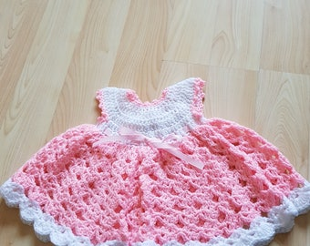 3-6 months pink and white baby dress